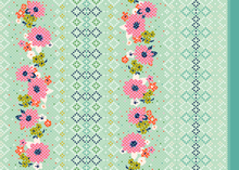 Cotton & Steel Mustang Rose Border Cotton Aqua