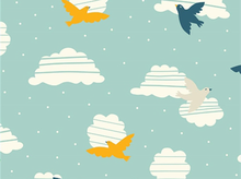 Organic Birch Everyday Party Bird in Flight Cotton Aqua