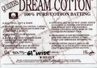 "Quilter's Dream Cotton 61"" Batting"
