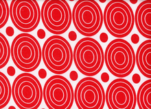 Rayon Challis Circles Red on White