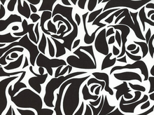 Rayon Challis Floral Cut-Out Black and White