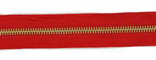 Red and Brass #5 Zipper by the Yard