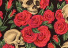 Resting in Roses Cotton Black