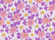 Retro 1930's Reproduction Feedsack Floral Purple