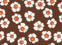 Retro 1930's Reproduction Feedsack Flower Grid Brown