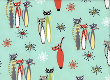 Retro Atomic Tabby Cat Fabric Sea foam
