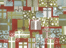 Retro Christmas or Party Presents Cotton Fabric Wine