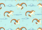 Riley Blake Unicorns and Rainbows Cotton Aqua