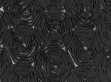 Rosettes Fashion Fabric Black