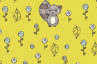 Scamper Raccoon in Yellow from Birch Fabrics