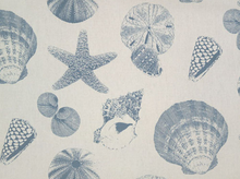 Shells Canvas Fabric Pacific Blue on Natural