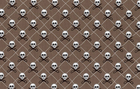 Skull and Cross Scissors Cotton Fabric Brown