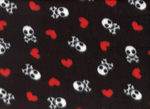 Skulls and Hearts Fleece Black