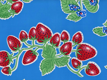 Strawberries Oilcloth Sky Blue