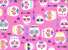 Sugar Skulls Cotton Pink