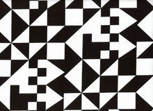 Tangram Geometric Fabric Black