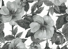 Tea Time Floral Pleather Fabric Grey
