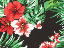 Tropical Palm and Hibiscus Rayon Voile Black
