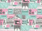 Vintage Sewing Patch Cotton Teal and Pink