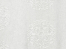 Windsor Embroidered Medallion Drapery Fabric White
