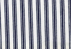 Woven Cotton Ticking Fabric Navy on White