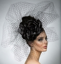 """Adele"" Black Fascinator by Arturo Rios"
