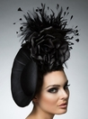 Amanda, Black Dish Fascinator by Arturo Rios