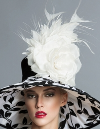 Angelica Black and White Derby Hat by Arturo Rios