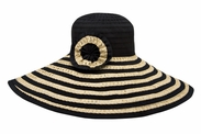 BIG BRIM STRAW/RIBBON COMBO HAT