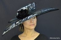 Black & White Ribbon Print Kentucky Derby Hat