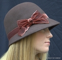 Wool Cloche with Velvet Bow
