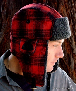 Buffalo Plaid Woolen Trooper Trapper Hat