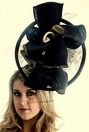"Christine A. Moore's ""Meesha""<br> Black & Tan Fascinator"