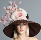"""Colette"" Chocolate Brown Derby Hat by Arturo Rios"