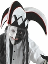 Court Jester Hat in Black and White with Red Trim