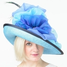 Edith, Aqua & Navy Kentucky Derby Hat by Christine A. Moore