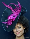 English Wedding Fascinator in Black, Pink Flowers