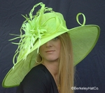 Feather Extravaganza Derby Hat in Pistachio Green