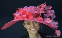 Feather Flower Wide Brim Kentucky Derby Dress Hat