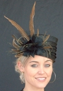Feathered Pill Box Derby Hat