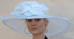 Giant Brimmed Ruffled Edge Run for the Races Hat