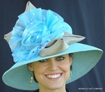 Giant Organza Flower Hat for The Derby in Light Blue with Taupe