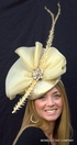 Gold Fascinator with Feathers and Rhinestones