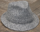Harris Tweed Walking Hat<BR>  Grey Herringbone, Italian