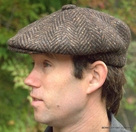Heavy Weight Wool Brown Herringbone Motoring Cap  (IR20)
