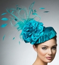 """Hellena"" Teal Fascinator by Arturo Rios"