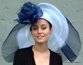 Huge Brim Off the Face Hat<br> In Navy Blue and White