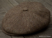 Irish Brown Herringbone Cabbie Cap (IR73)