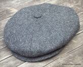 Irish Newsboy Cap Cabbie Cap<Br>dark grey herringbone (IR68)