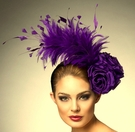 """Isabel"" Purple Feathered Fascinator by Arturo Rios"